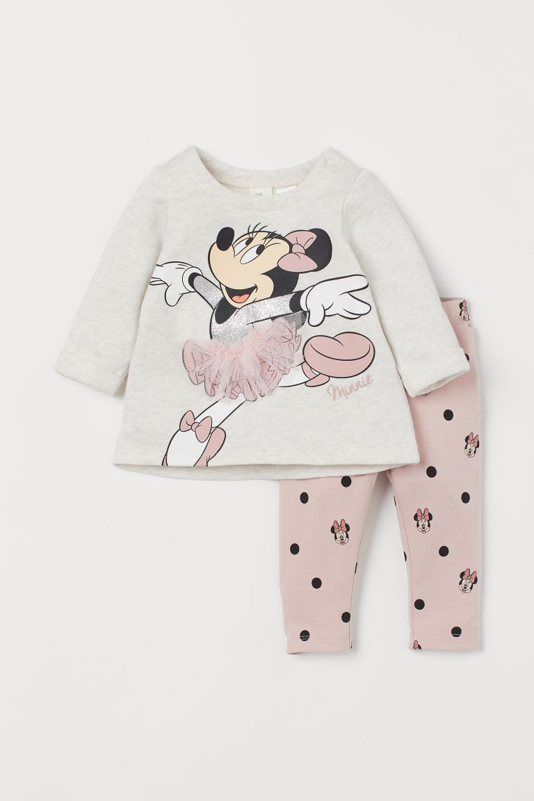 2-piece Printed Set - Light pink/Minnie Mouse - Kids | H&M US