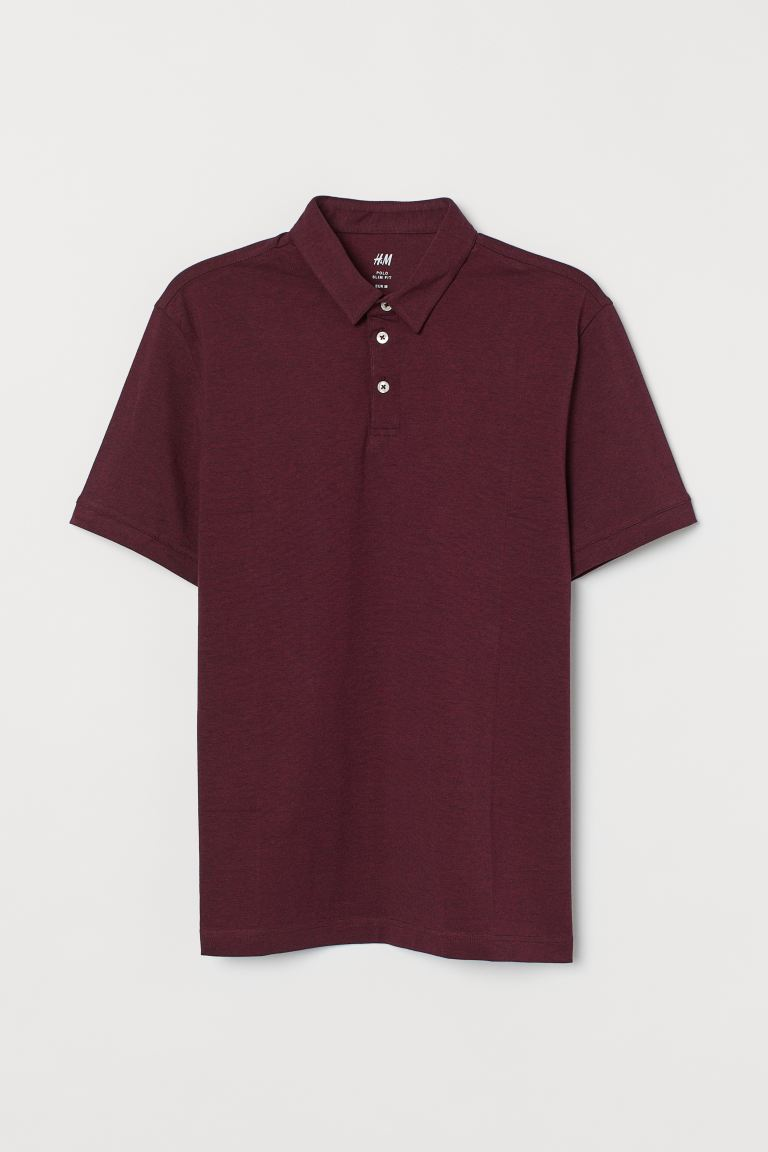 Polo Slim Fit - Bordeaux chiné - HOMME | H&M CH