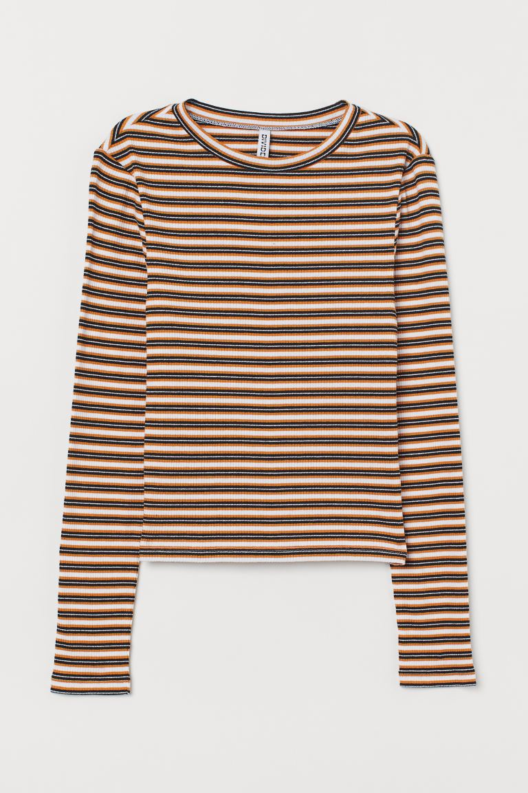 Ribbed Top - Dark yellow/striped - Ladies | H&M CA