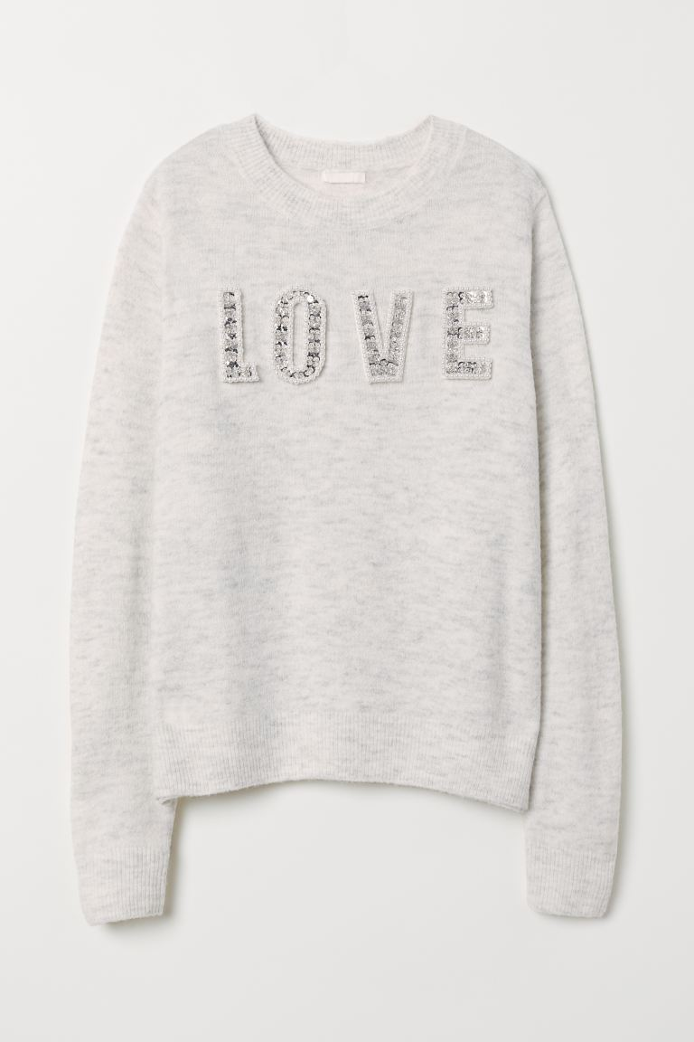 Knit Sweater with Motif - Light gray melange/Love - Ladies | H&M US