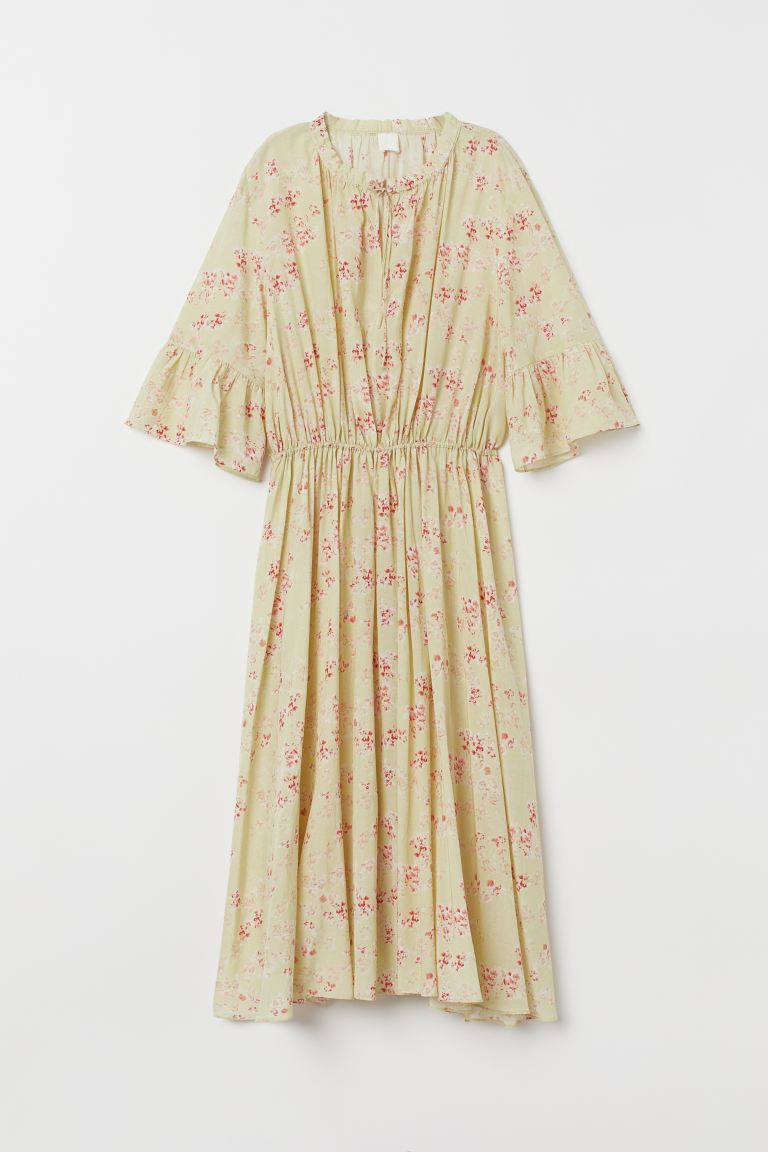 Cotton-blend dress - Yellowish green/Floral -  | H&M GB