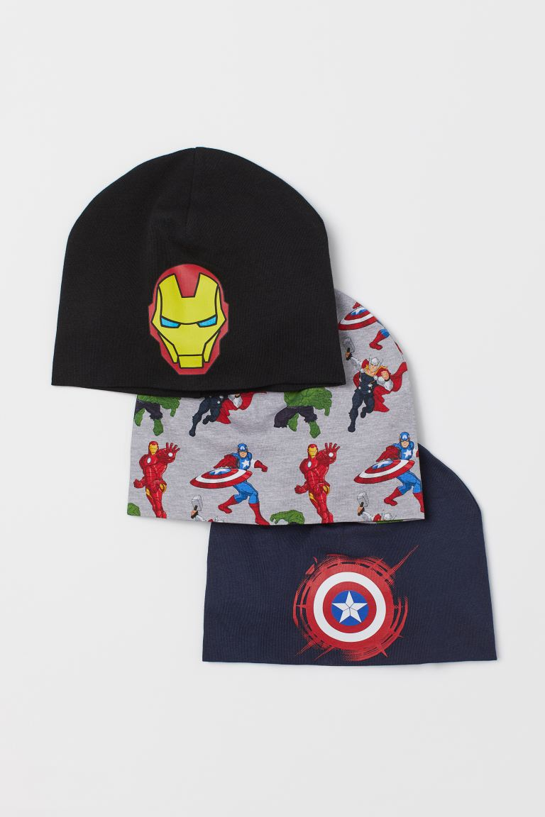 3-pack Jersey Hats - Gray melange/The Avengers - Kids | H&M CA