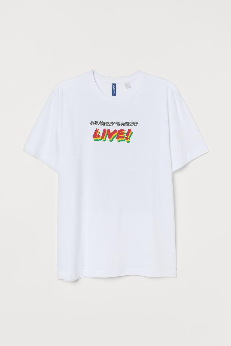 T Shirt Mit Motiv Weiss Bob Marley Men H M De