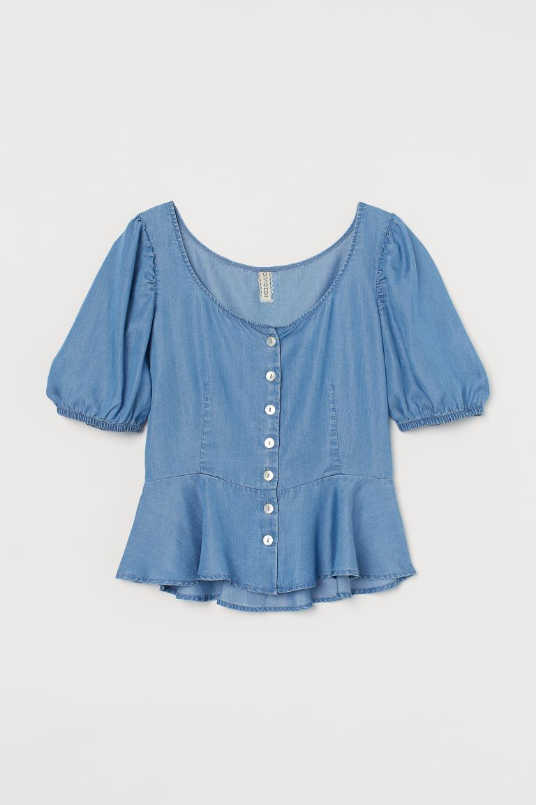 Lyocell Peplum Blouse - Light blue - Ladies | H&M US