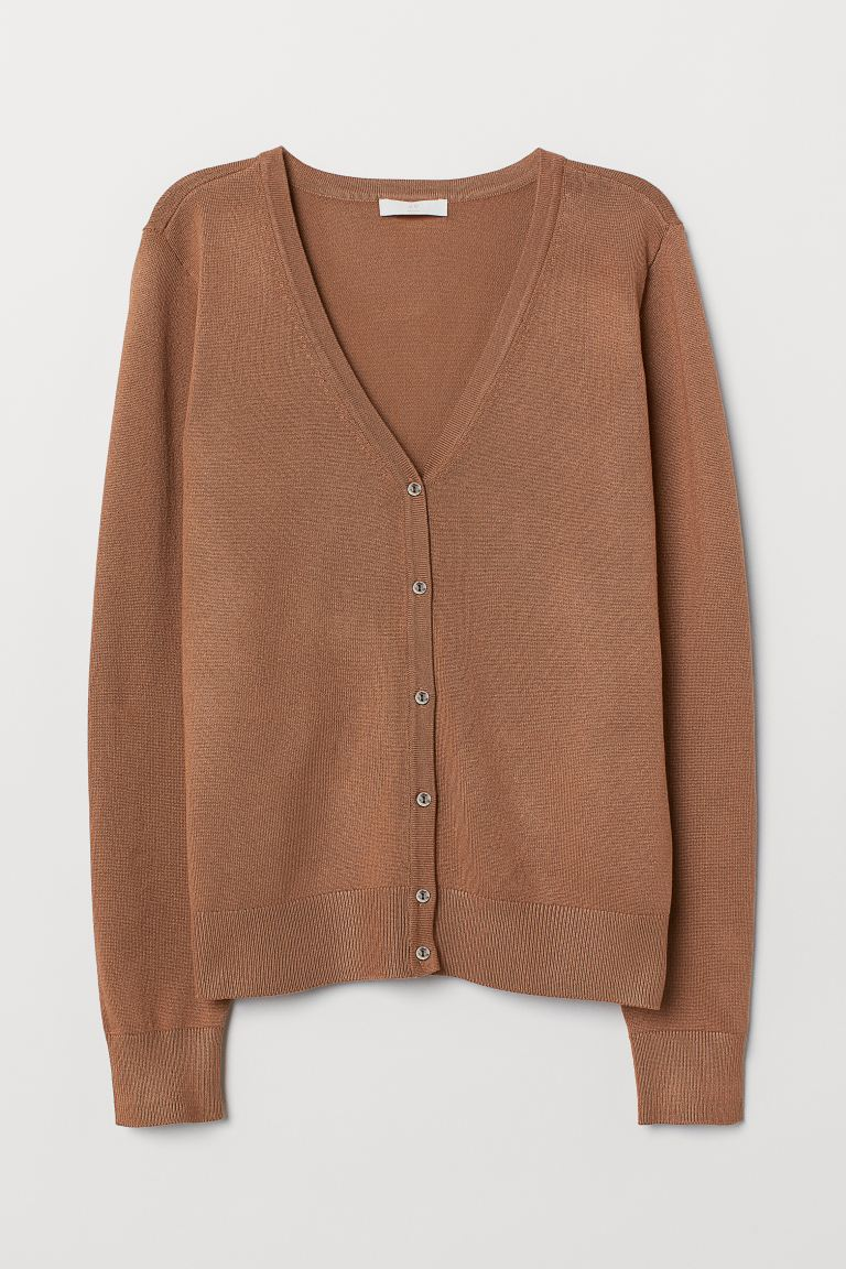 Fine-knit Cardigan - Dark beige - Ladies | H&M US