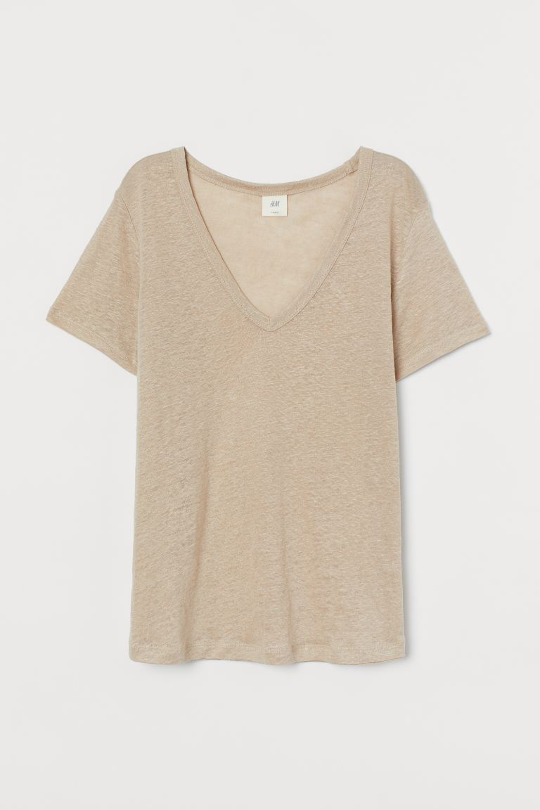 Shirt aus Leinenjersey - Beige - Ladies | H&M AT