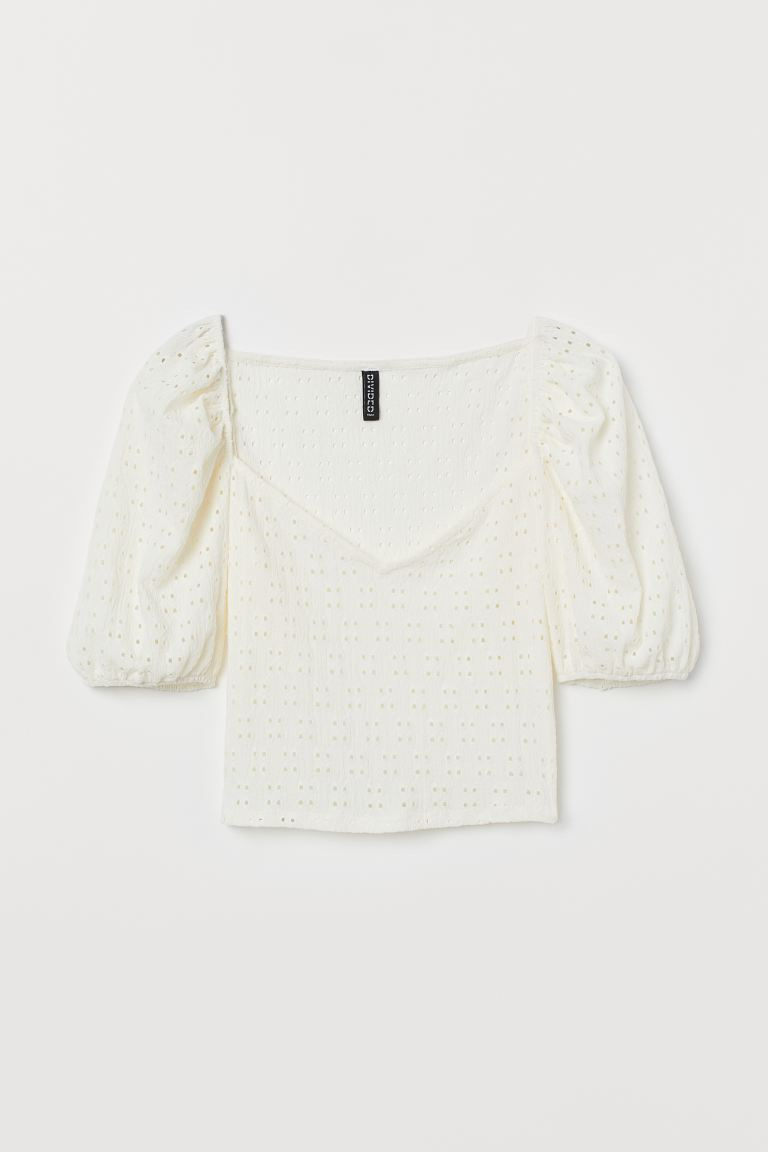 Puff-sleeved jersey top - White - Ladies | H&M