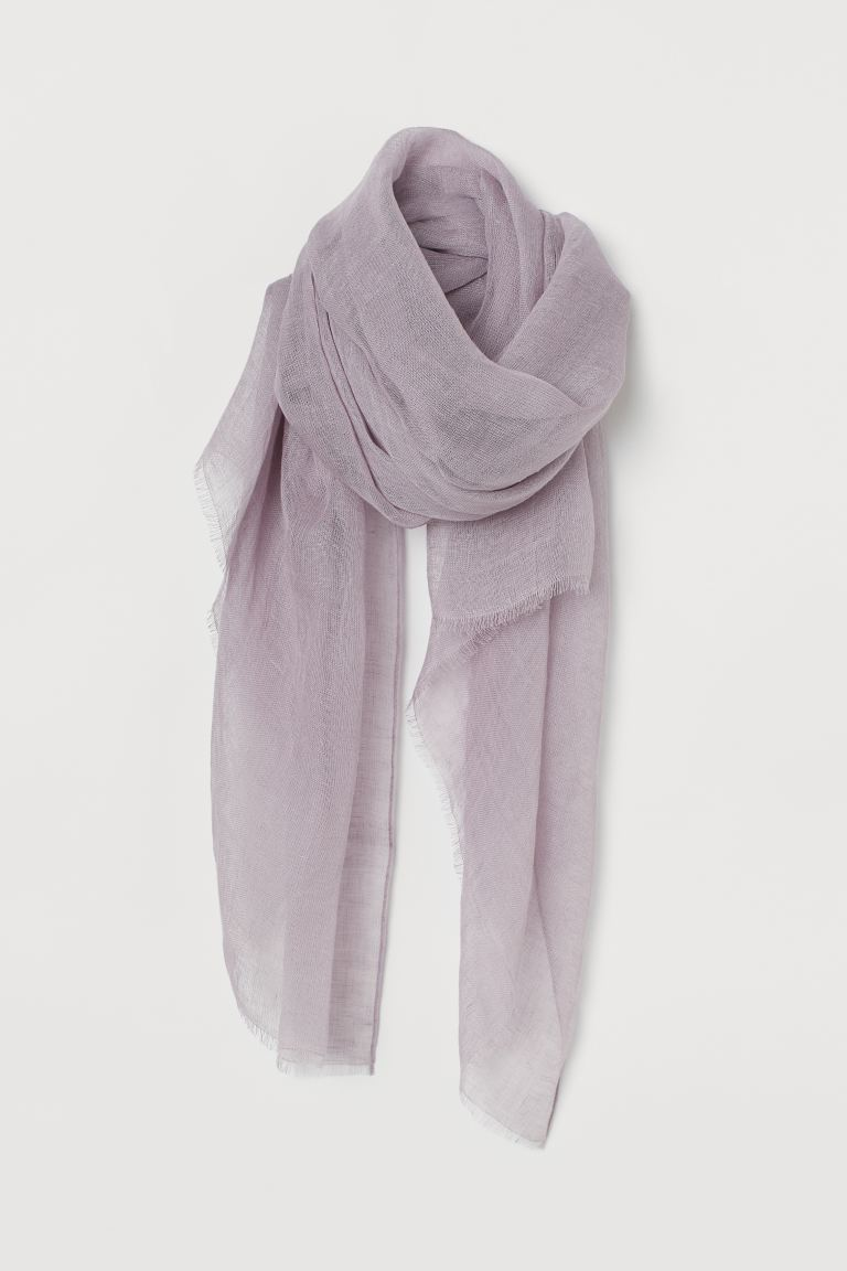 Linen scarf - Light purple - Ladies | H&M GB