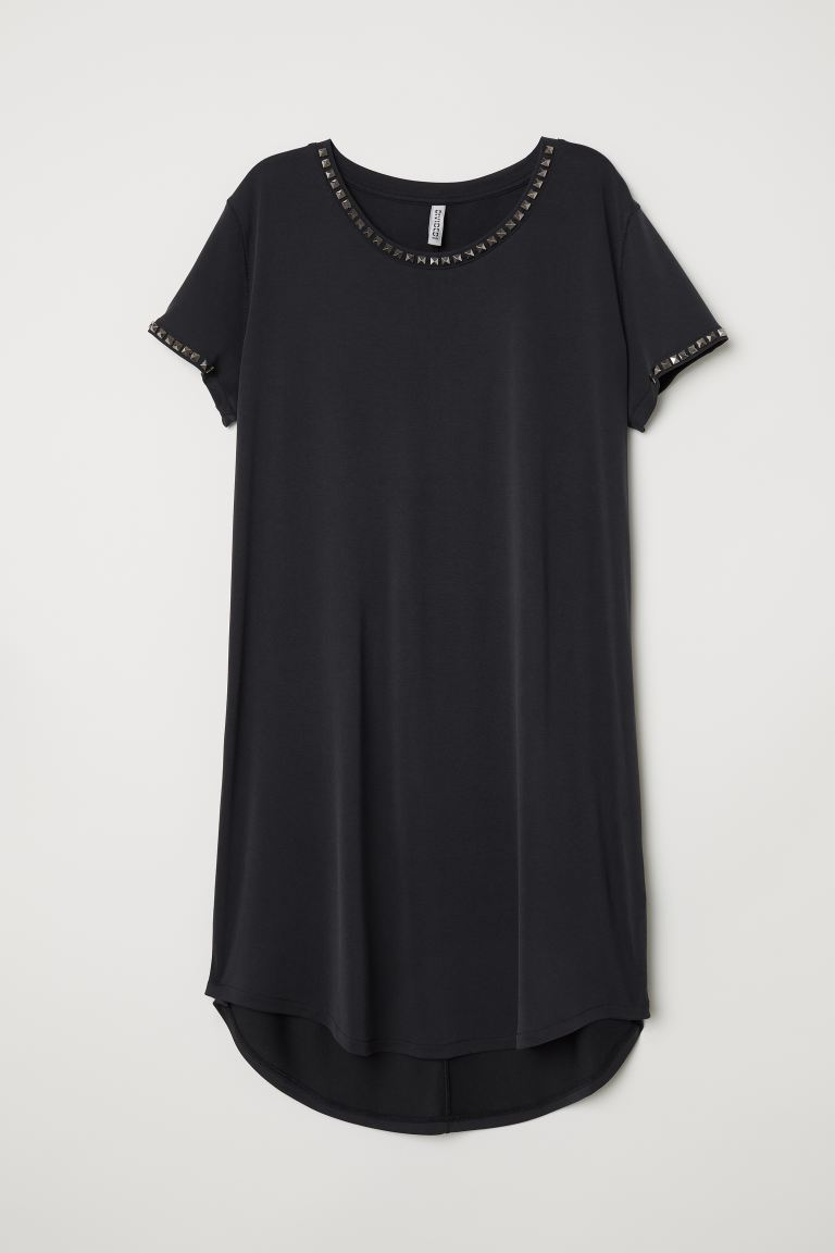 T-shirt Dress with Studs - Black - Ladies | H&M US