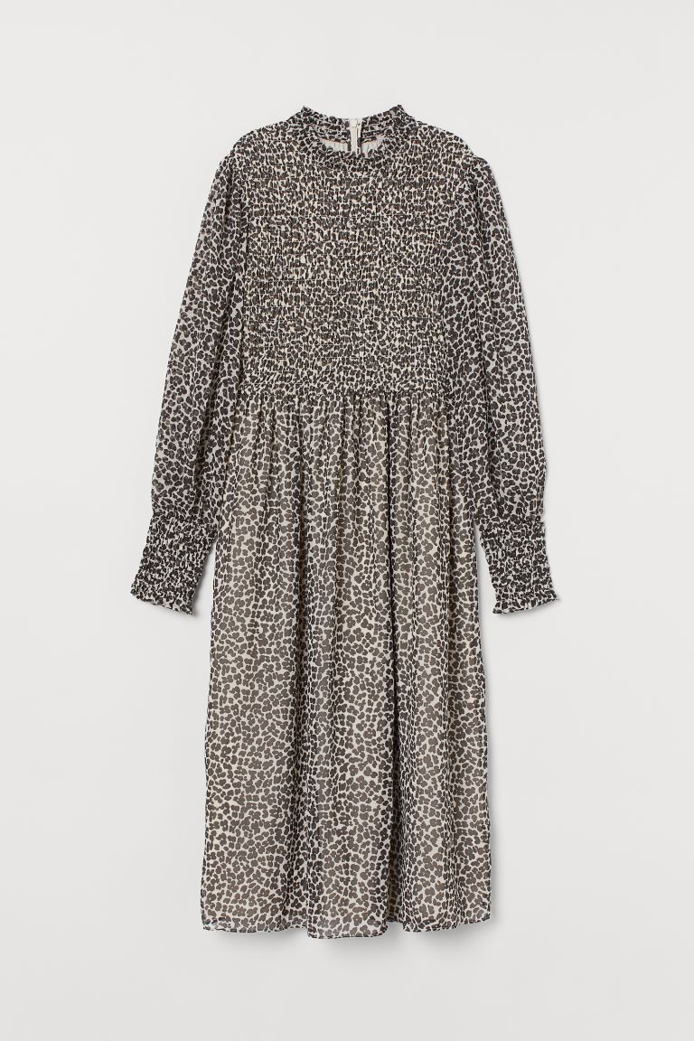 Gesmoktes Chiffonkleid - Hellbeige/Leopardenmuster - Ladies | H&M DE