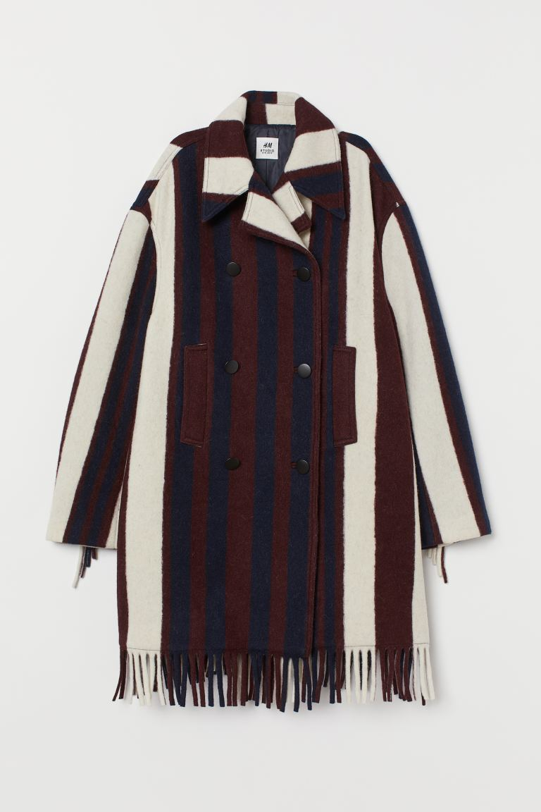 Oversized wool-blend jacket - Burgundy/Striped -  | H&M IE
