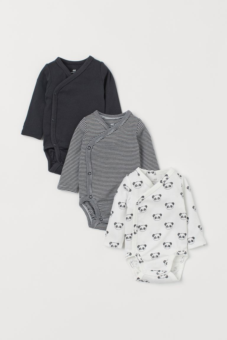 3-pack long-sleeved bodysuits - White/Pandas - Kids | H&M GB