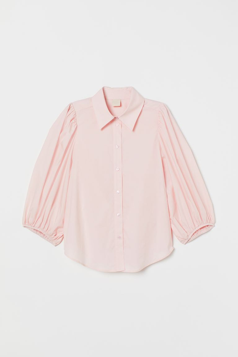 Balloon-sleeved blouse - Light pink - Ladies | H&M GB