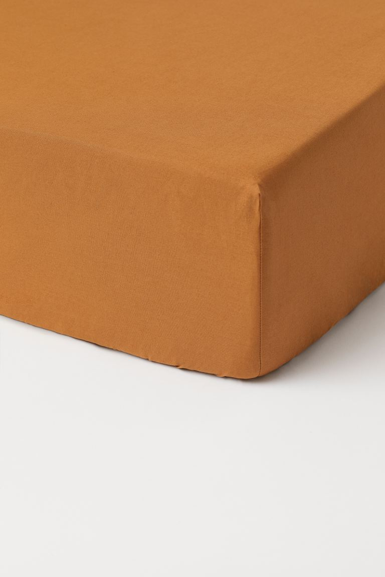Fitted cotton sheet - Brown - Home All | H&M GB