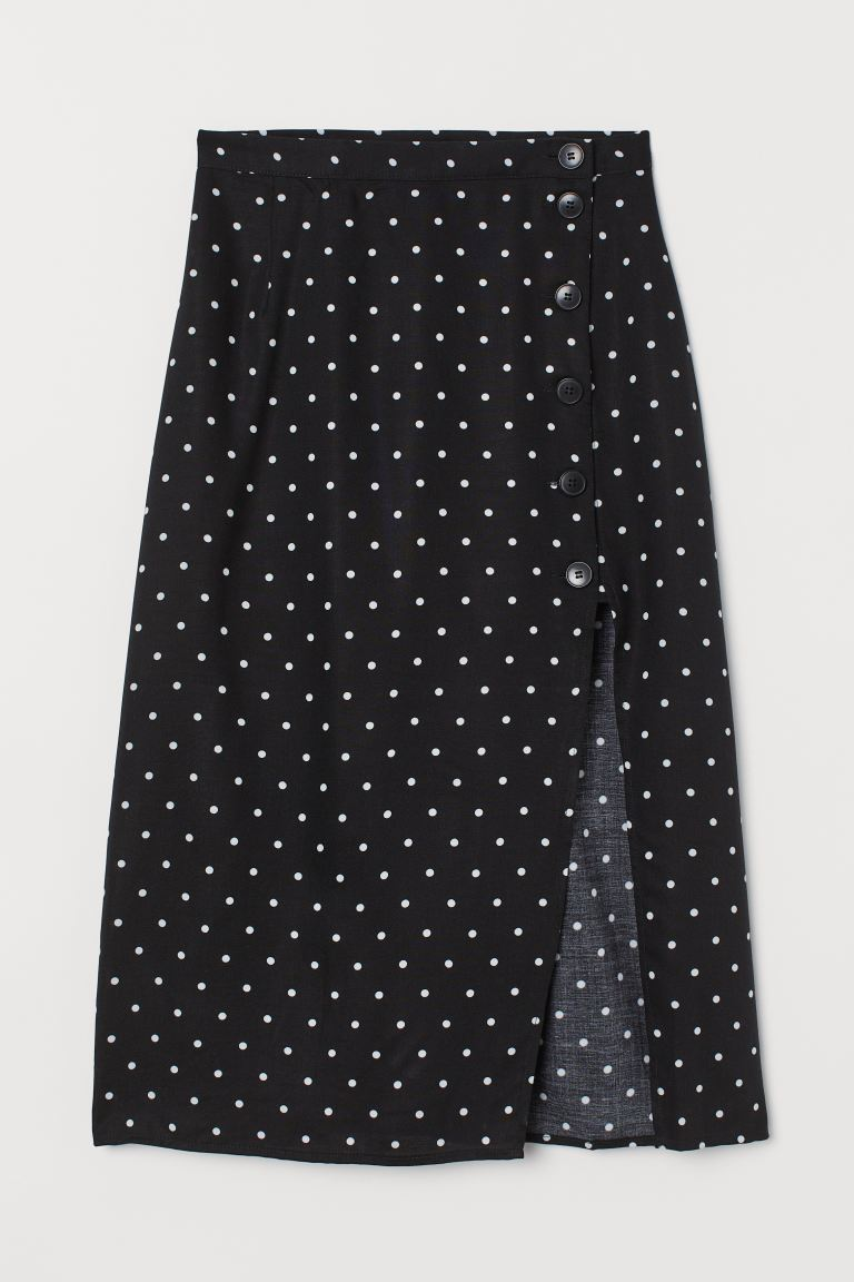Skirt with Slit - Black/white dotted - Ladies | H&M CA