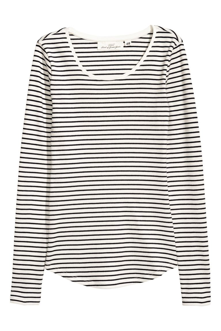 Long-sleeved jersey top - White/Blue striped - Ladies | H&M GB