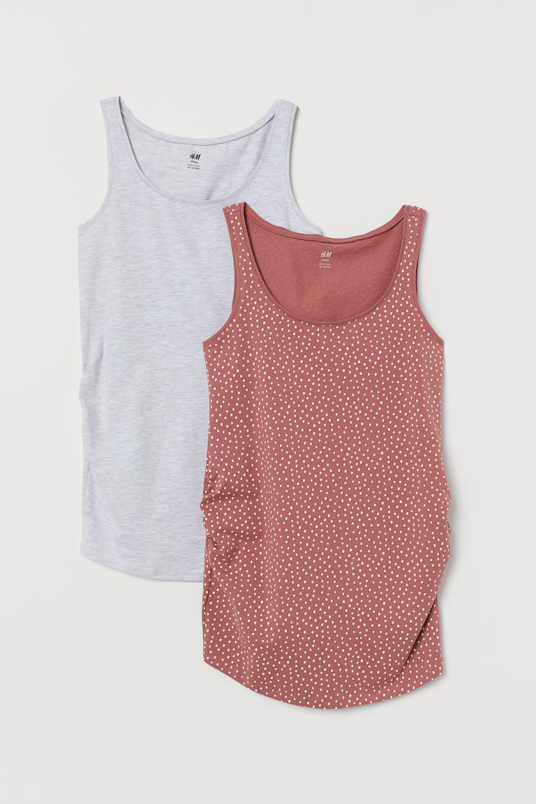 MAMA 2-pack Jersey Tank Tops - Dusty rose/gray melange - Ladies | H&M CA