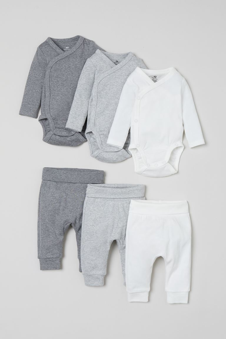 6-piece cotton set - Light grey marl - Kids | H&M