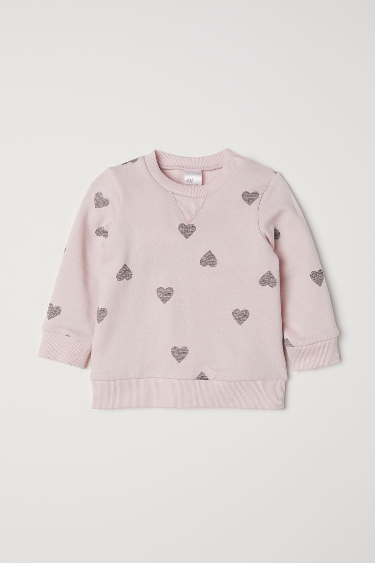 Cotton sweatshirt - Light pink/Hearts - Kids | H&M GB