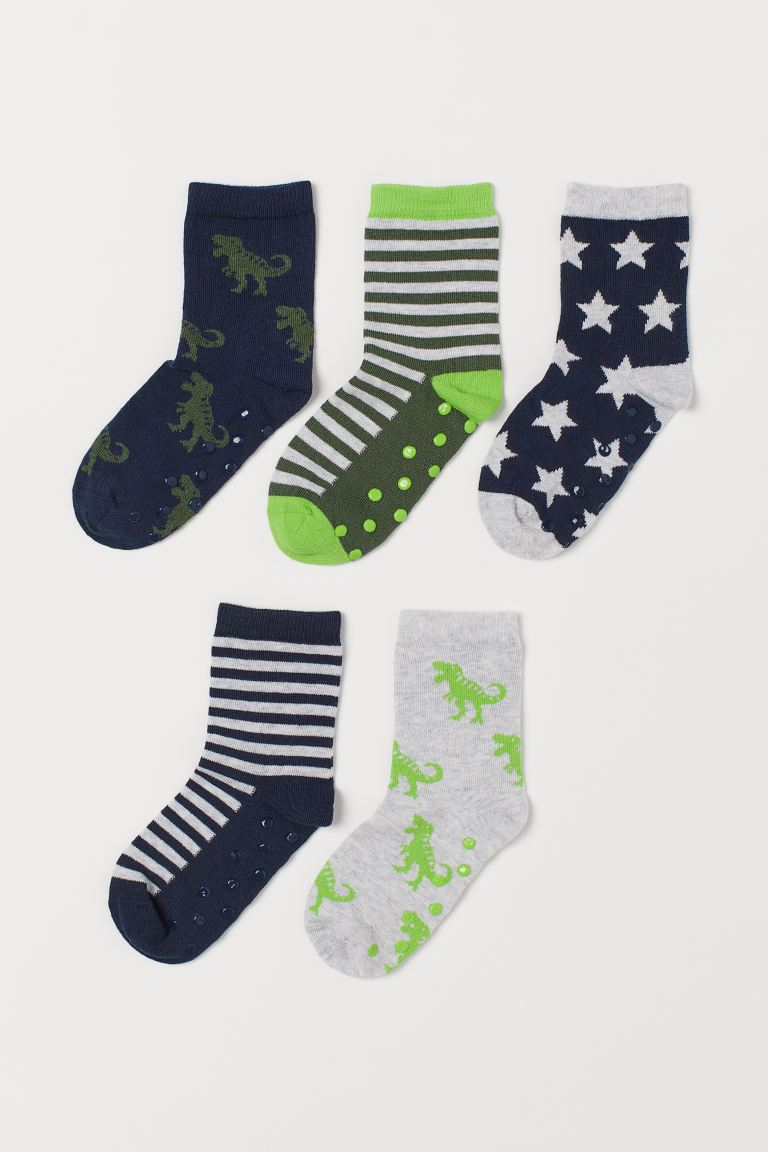 5-pack Non-slip Socks - Dark blue/dinosaurs - Kids | H&M US