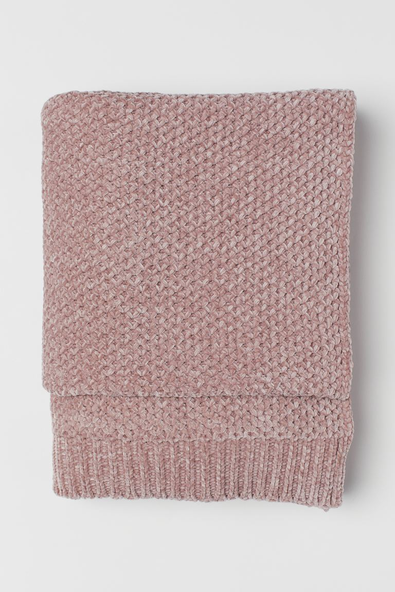 Plaid en fil chenille - Rose ancien - Home All | H&M FR