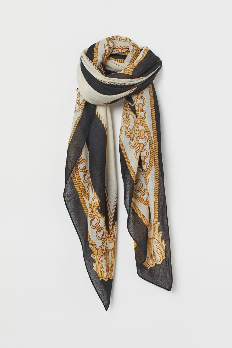 Patterned scarf - Black - Ladies | H&M GB