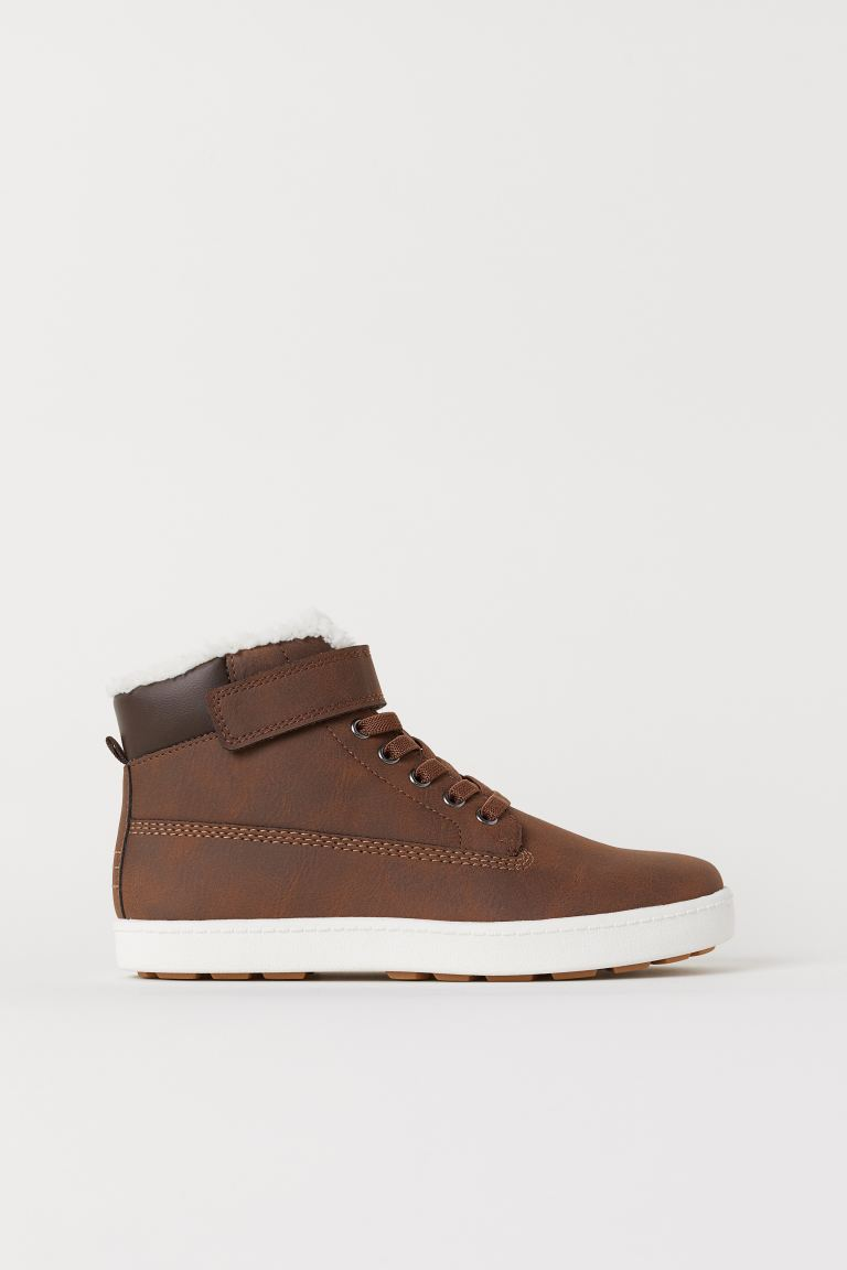 Faux Shearling-lined High Tops - Brown - Kids | H&M US