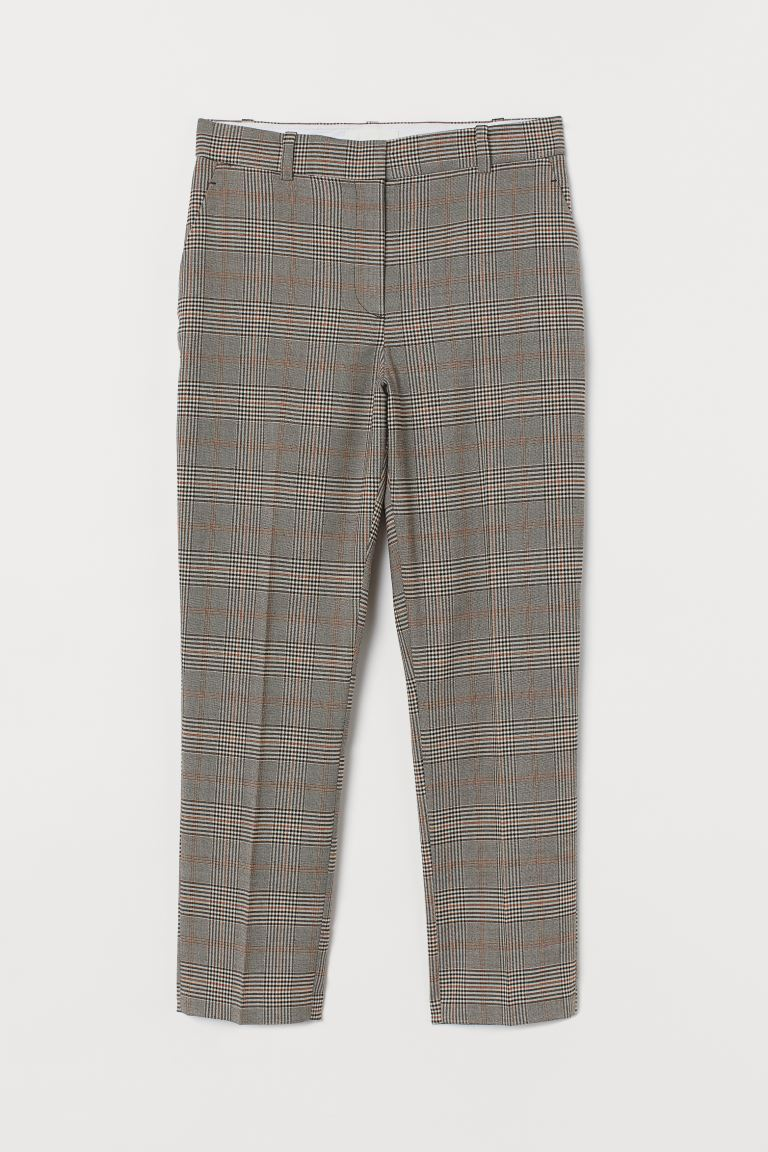 Cigarette trousers - Grey/Checked - Ladies | H&M GB