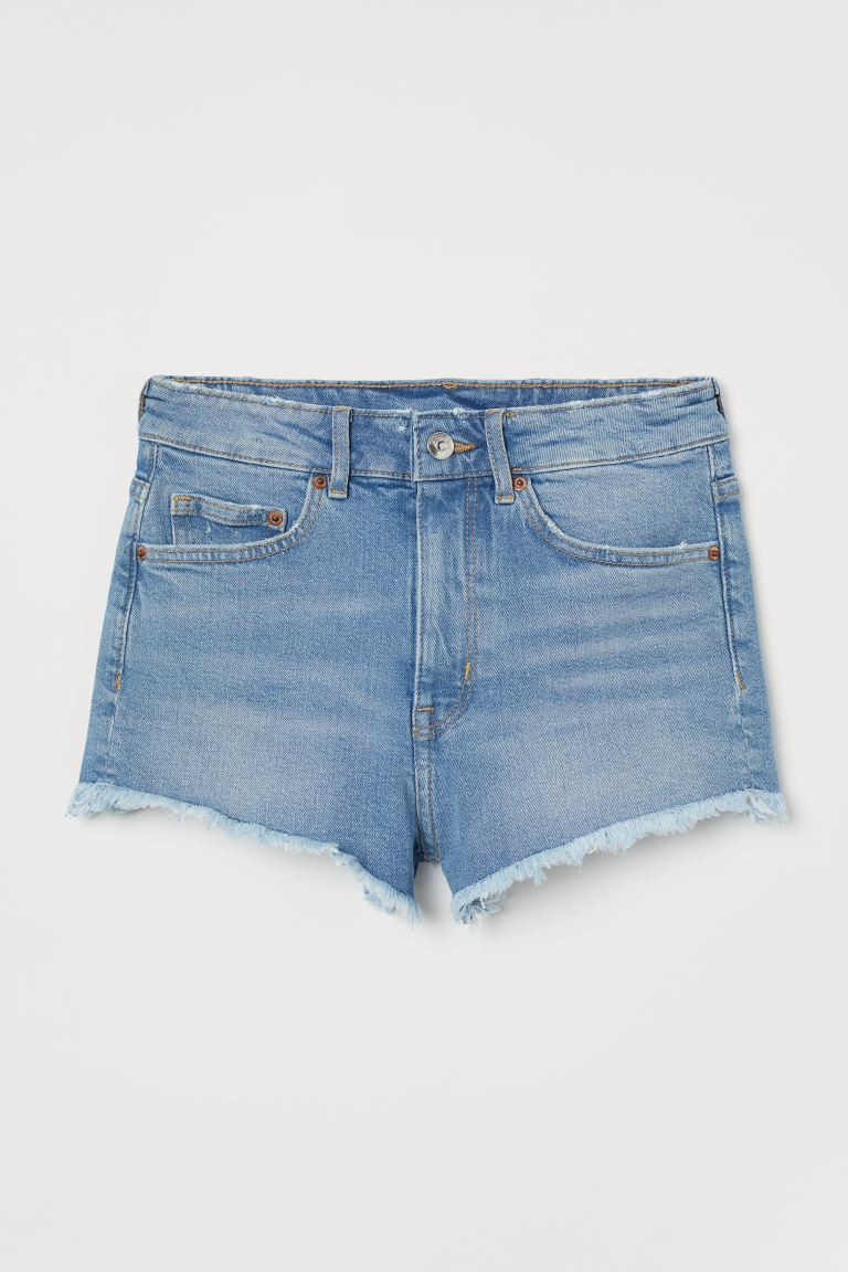 Denim shorts High Waist - Denim blue - Ladies | H&M