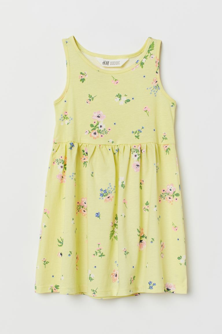 Sleeveless Jersey Dress - Light yellow/floral - Kids | H&M US
