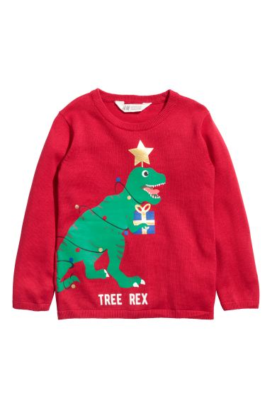Fine-knit cotton jumper - Red/Dinosaur - Kids | H&M GB