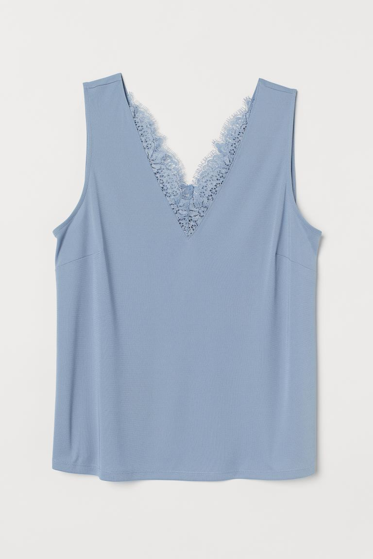 H&M+ Sleeveless top - Light blue - Ladies | H&M IN