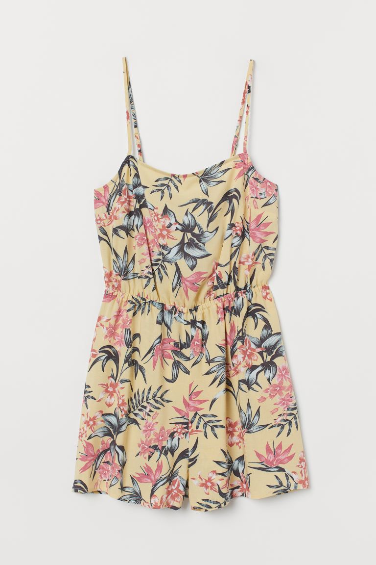 Sleeveless playsuit - Light yellow/Leaf-patterned - Ladies | H&M GB