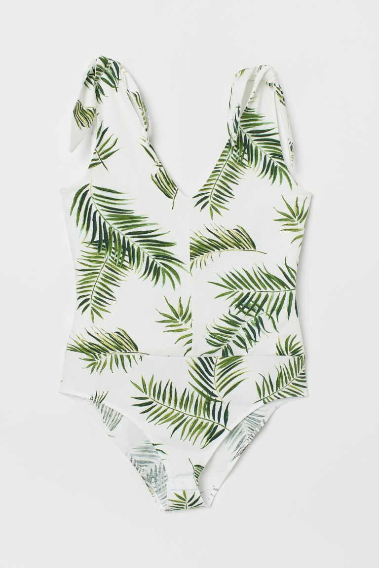 Patterned Bodysuit - Natural white/palm leaves - Ladies | H&M US
