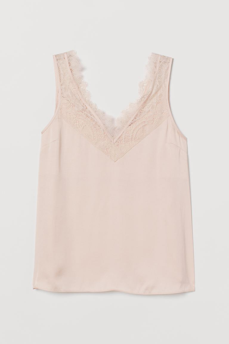 Lace-trimmed top - Powder pink - Ladies | H&M IE