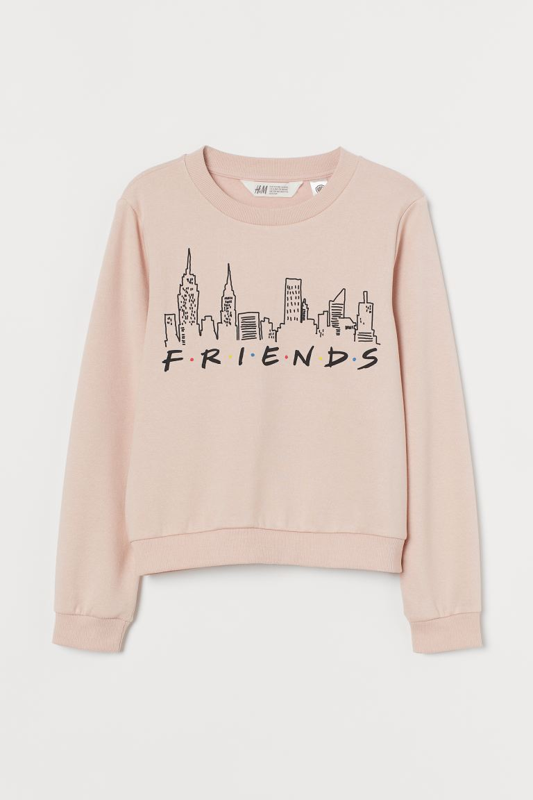 Sweat imprimé - Rose poudré/Friends - ENFANT | H&M FR