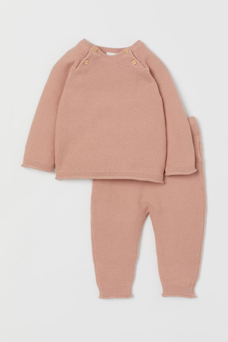 Knitted jumper and trousers - Powder pink - Kids | H&M GB