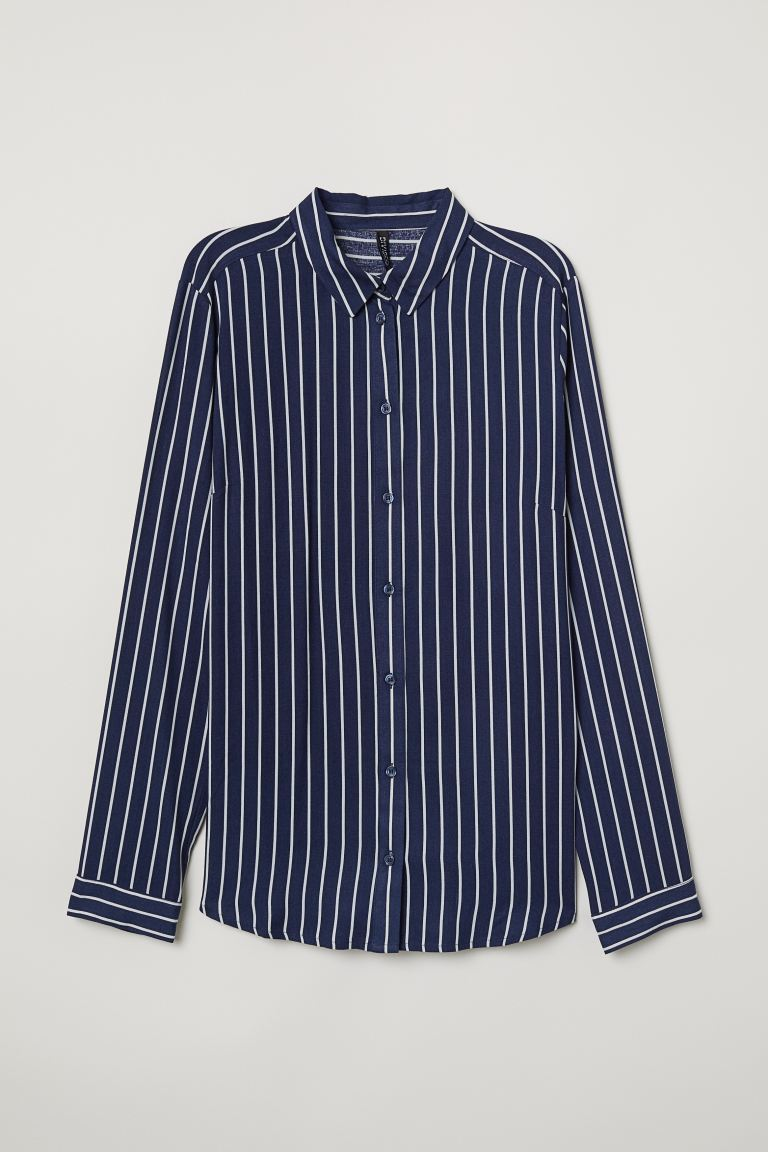 Viscose Shirt - Dark blue/white striped - Ladies | H&M US
