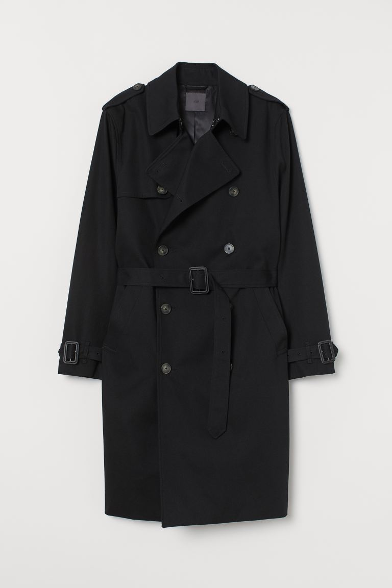 Cotton Twill Trenchcoat - Black - Men | H&M US