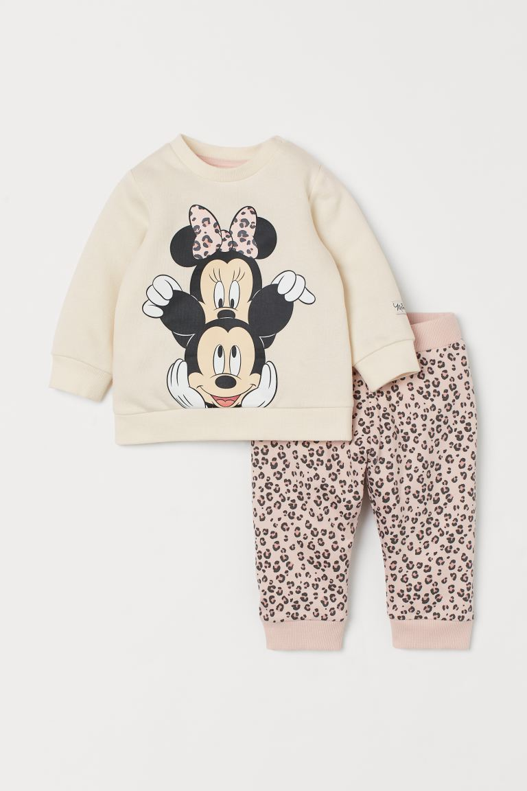 2-piece Sweatshirt Set - Natural white/Minnie Mouse - Kids | H&M US