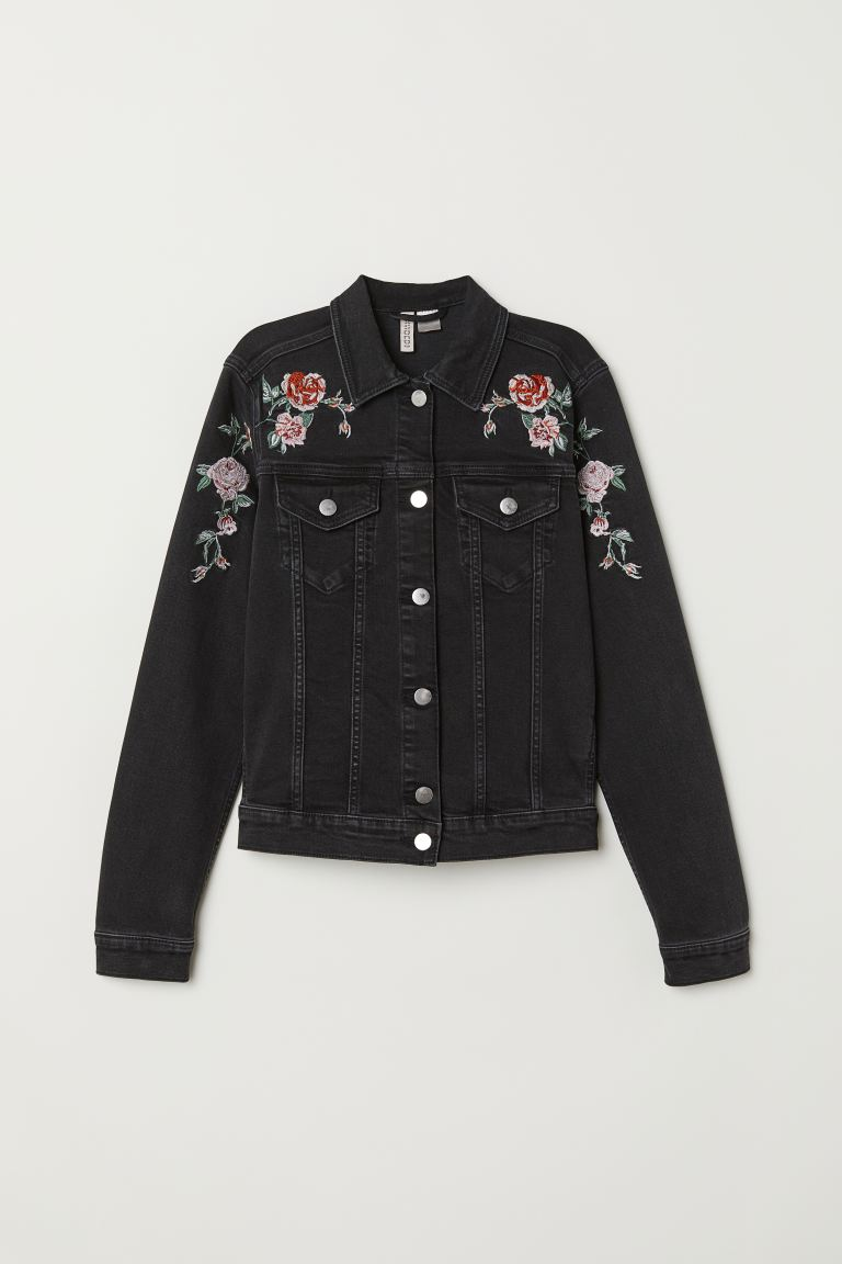 Embroidered Denim Jacket - Black denim/roses - Ladies | H&M US