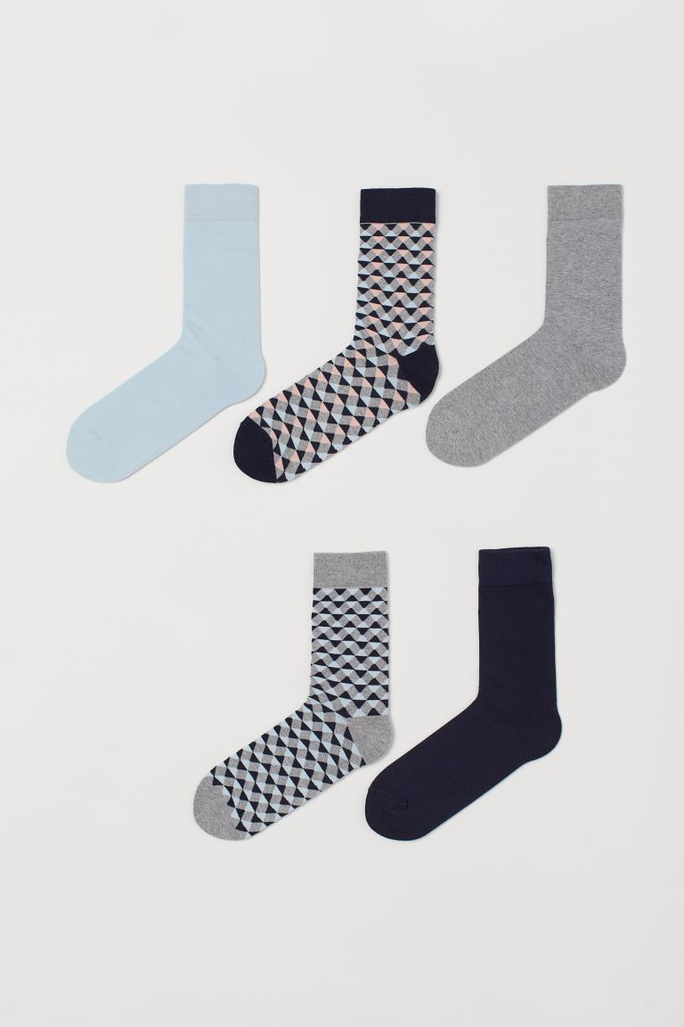 5-pack socks - Grey marl/Patterned - Men | H&M IN