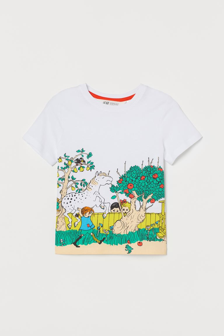 Printed T-shirt - White/Pippi Longstocking - Kids | H&M US