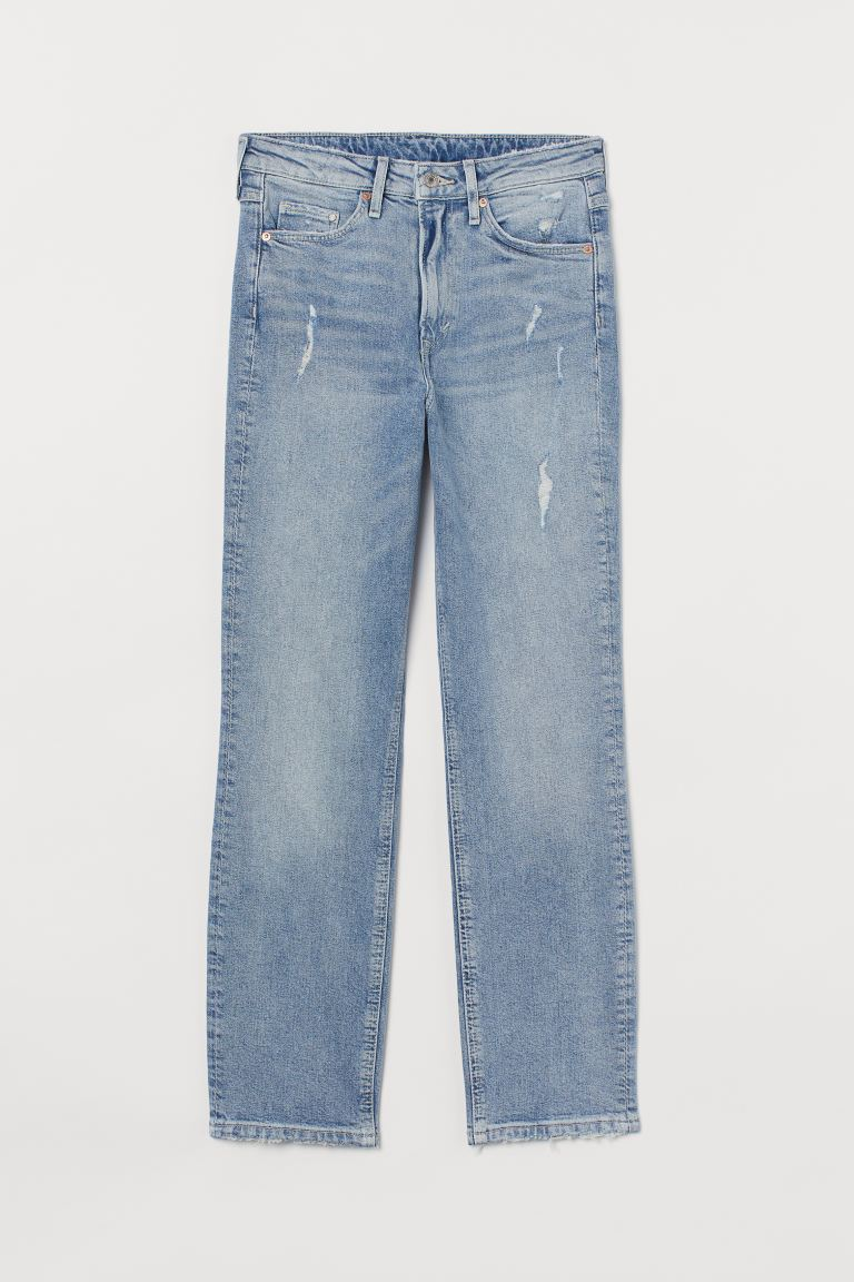 Vintage Slim High Ankle Jeans - Hellblau/Trashed - Ladies | H&M DE