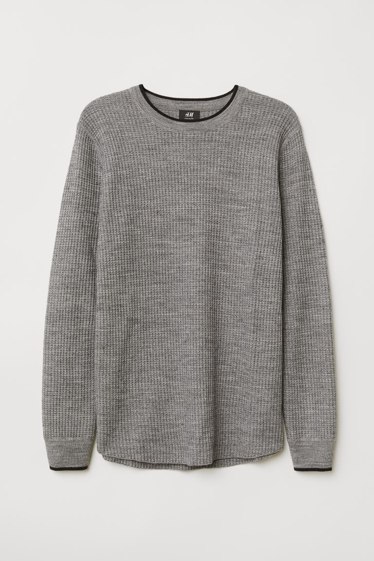 Textured-knit jumper - Grey marl - Men | H&M IN