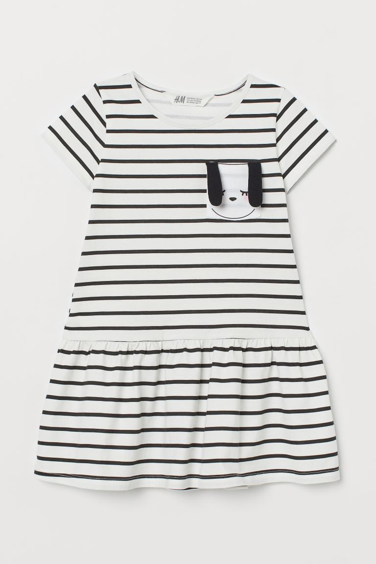 Jersey Dress with Appliqué - White/dog - Kids | H&M US