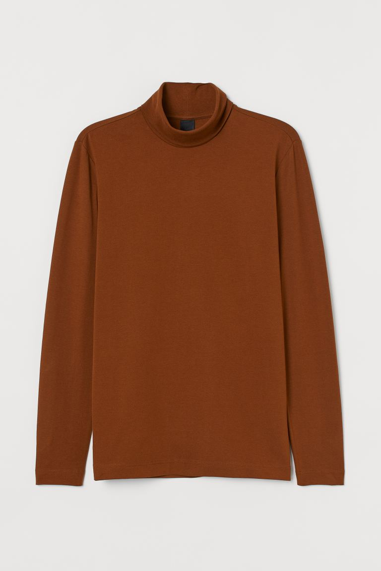 Polo-neck top Slim Fit - Brown - Men | H&M