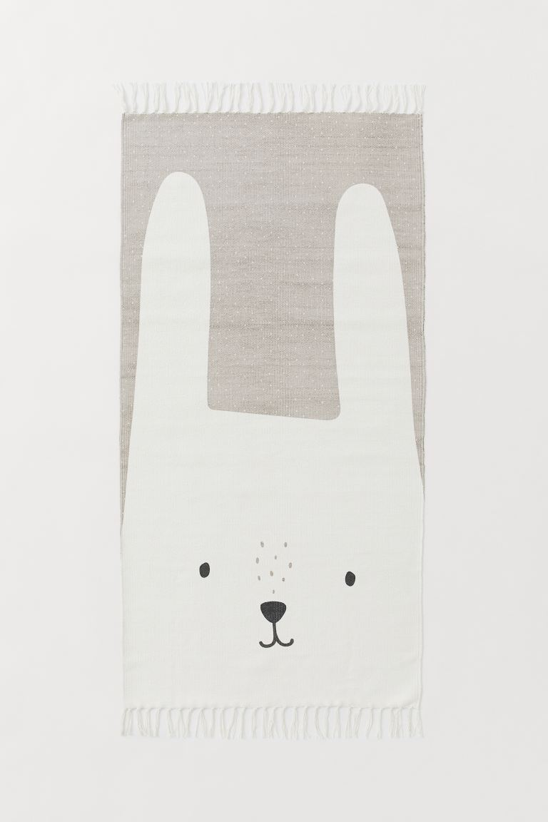 Print-motif cotton rug - White/Rabbit - Home All | H&M GB