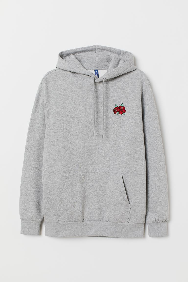 Hooded top with a motif - Grey marl/Flower - Men | H&M