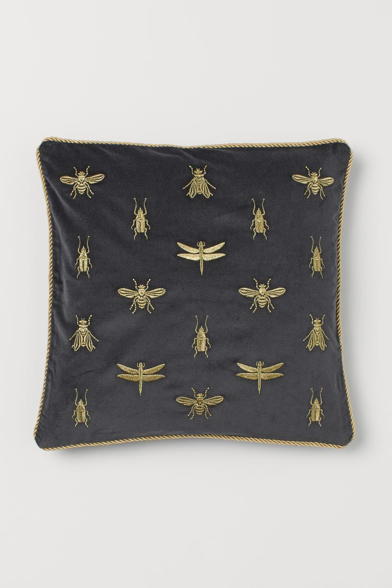 Embroidered Cushion Cover - Dark gray/insects - Home All | H&M US